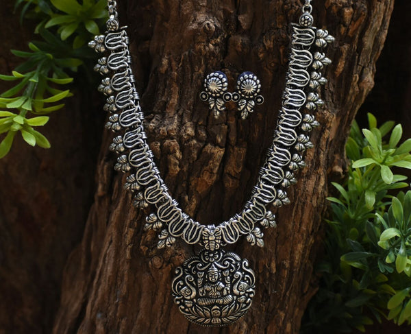 Oxidized Temple Necklace and Earrings-OTN032