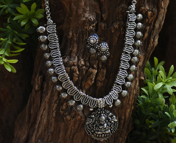 Oxidized Temple Necklace and Earrings-OTN033