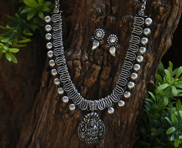 Oxidized Temple Necklace and Earrings-OTN034
