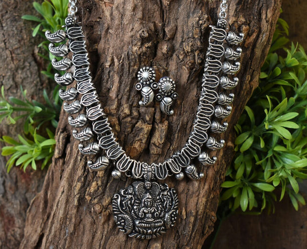 Oxidized Temple Necklace and Earrings-OTN035