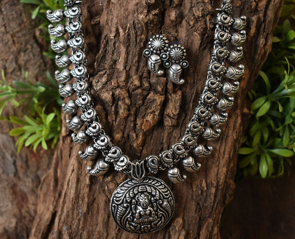 Oxidized Temple Necklace and Earrings-OTN036