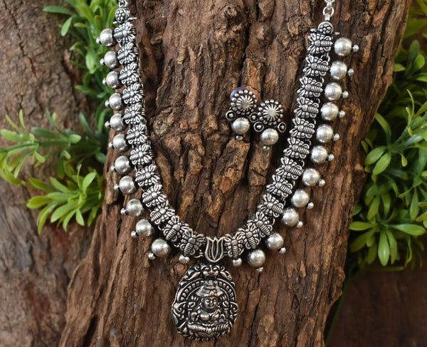 Oxidized Temple Necklace and Earrings-OTN037