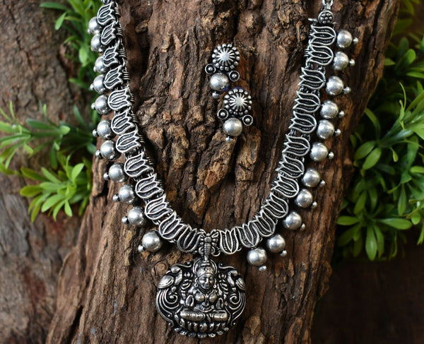 Oxidized Temple Necklace and Earrings-OTN038