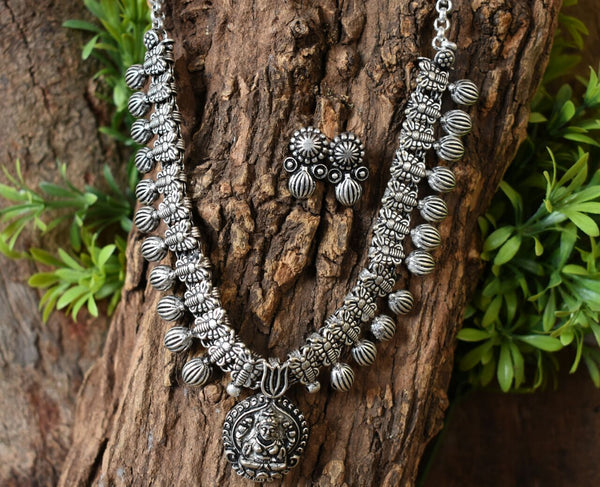 Oxidized Temple Necklace and Earrings-OTN039