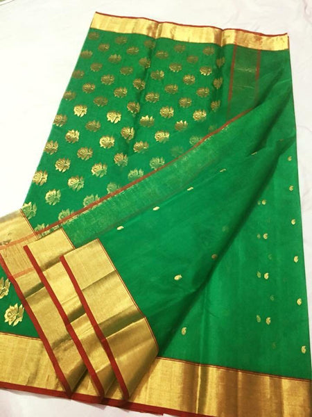 Parrot Green with Golden Floral Chanderi Silk Saree-CHANSRE-068