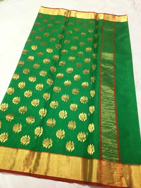 Parrot Green with Golden Floral Chanderi Silk Saree