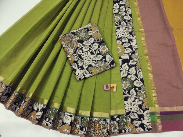 Parrot Green with Kalamkari Blouse Mercerized Silk Cotton Saree-SRE-821