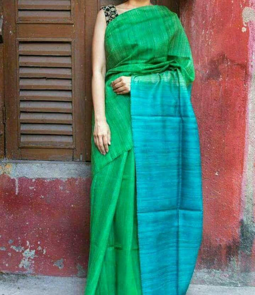 Parrot Green with Turquoise Blue Pallu Linen Saree-LNSRE-022