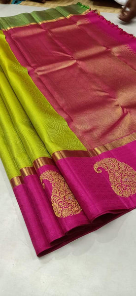 Parrotgreen and Pink Pure Silk Saree