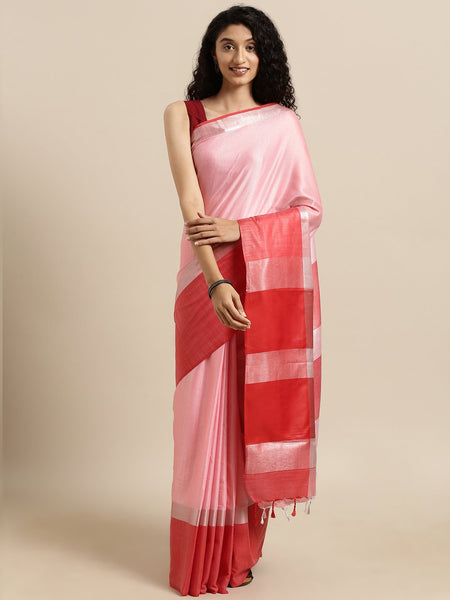 Peach Attractive Big Border Angolla Linen Saree (Blend)