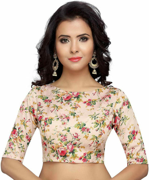 Peach Floral Printed Readymade Blouse