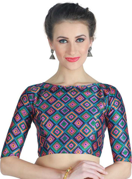 Peacock Blue Digital Printed Readymade Blouse