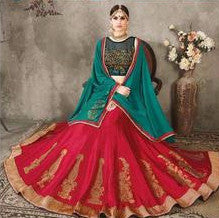 Peacock Green & Red Embroidered Bridal Lehenga