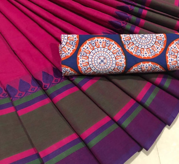 Pink-Violet Cotton Saree