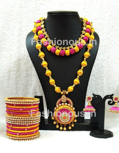 Pink And Yellow Short And Long Silk Thread Jewellery Set-STJSW-001