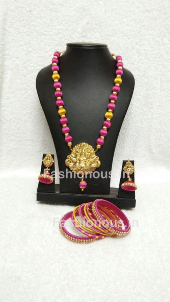 Pink And Yellow Silk Balls With Laxshmi Antique Pendant Silk Thread Jewellery Set-STJSW-011