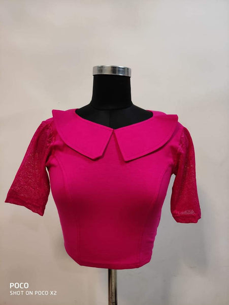 Fancy V Shape Heavy Phantom Silk Blouse - Pink