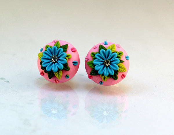 Pink Blue Floral Embroidery Polymer Clay Stud