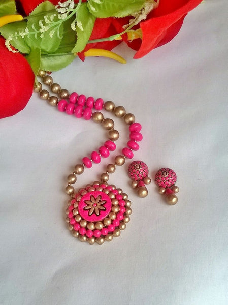 Pink Bubble Terracotta Jewellery Set