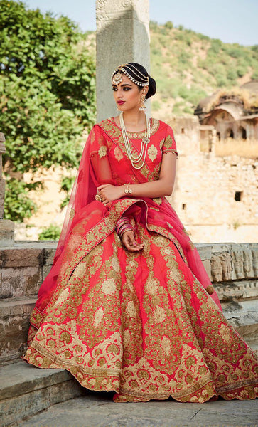 Pink & Cream Embroidered Bridal Lehenga