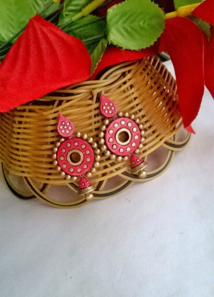 Pink Ethnic Terracotta Earrings