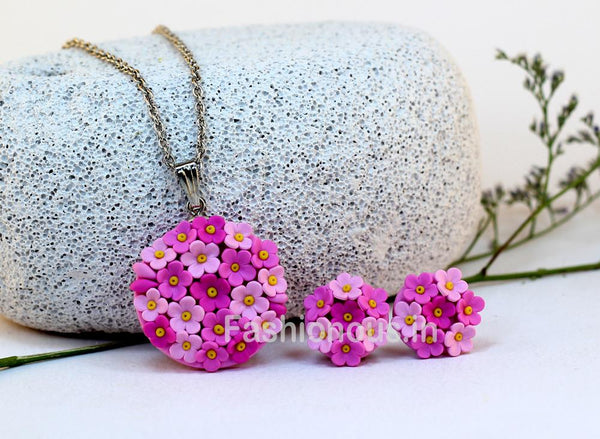 Pink Floral Embroidery Necklace and Earrings-ZAPCNS-004
