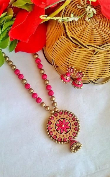 Pink Floral Terracotta Jewellery Set