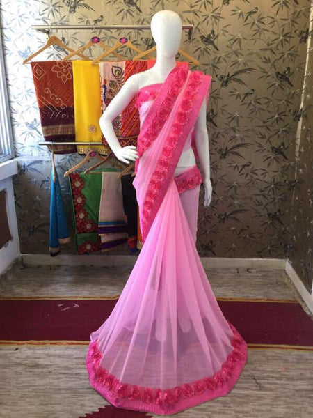 Pink Georgette with Ribbon work and Rose Lace Designer Saree-SRE-205