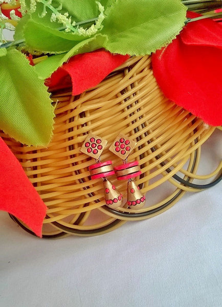 Pink & Gold Terracotta Earrings