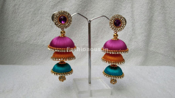 Pink Orange and Sky Blue Tricolored Silk Thread Jhumkas-STJH-072