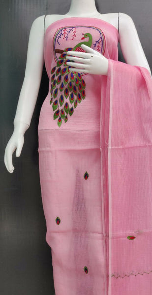 Pink Peacock Embroidered Kota Dress Material