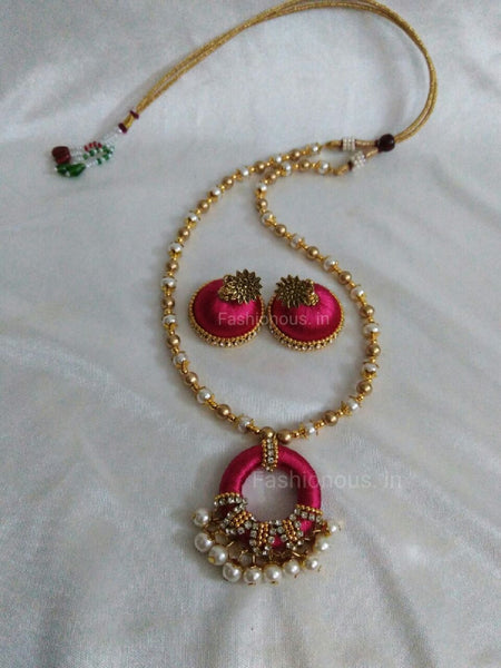 Pink Pearl Silk Thread Necklace and Earrings