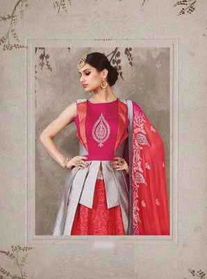 Pink & Red With White Embroidered Bridal Lehenga