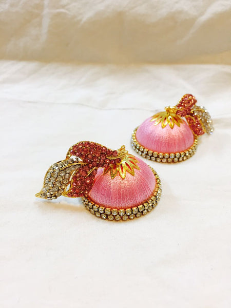 Pink Stone Silk Thread Earrings