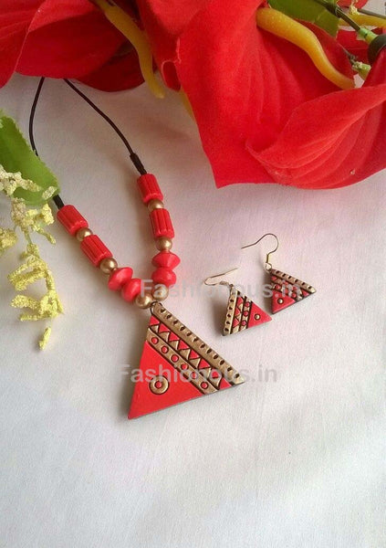 Pink Triangular Terracotta Pendant Set-TJS-037