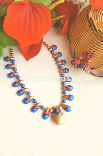 Pink and Blue Droplet Design Terracotta Jewellery Set -TJS-020