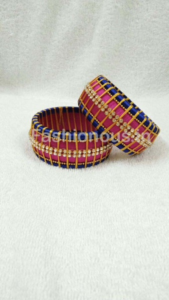 Pink and Blue Stone Worked Silk Thread Bangle Pair-STJSW-049