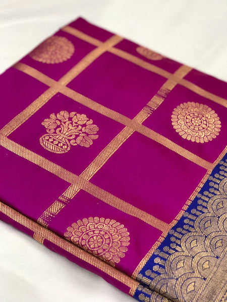 Pink and Blue with Floral Pot Zari Work Banarasi Silk Saree-SRE-137