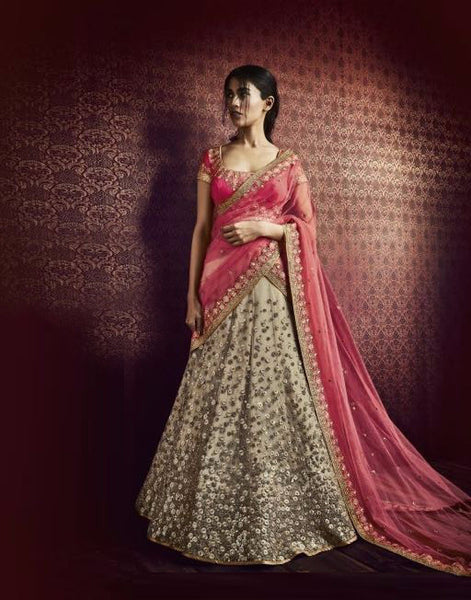 Pink and Cream Embroidered Bridal Lehenga