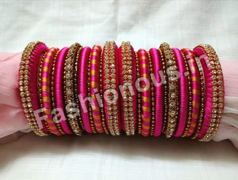 Pink and Gold Designer Silk Thread Bangles
