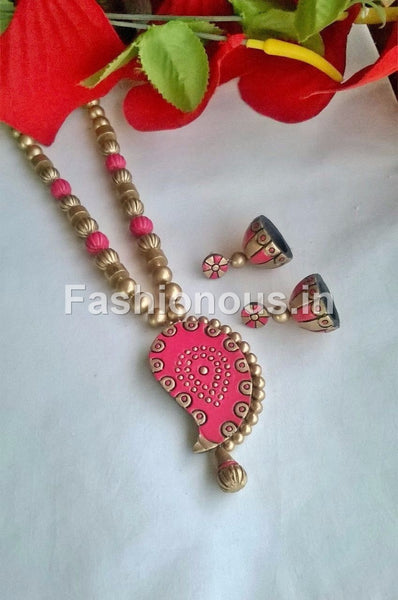 Pink and Gold Terracotta Jewellery Set