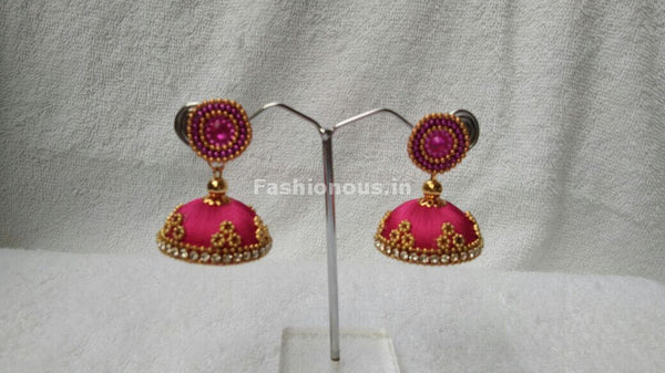 Pink and  Golden Beaded Silk Thread Jhumkas-STJH-064