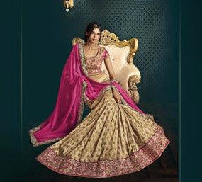Pink and Golden Embroidered Bridal Lehenga
