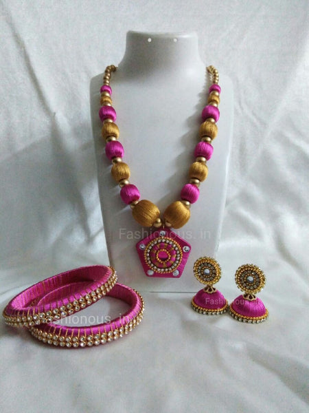 Pink and Golden Pentagon Silk Thread Jewellery Set