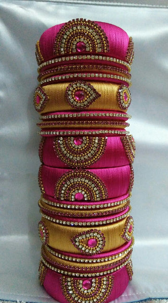 Pink and Golden Silk Thread Bangles
