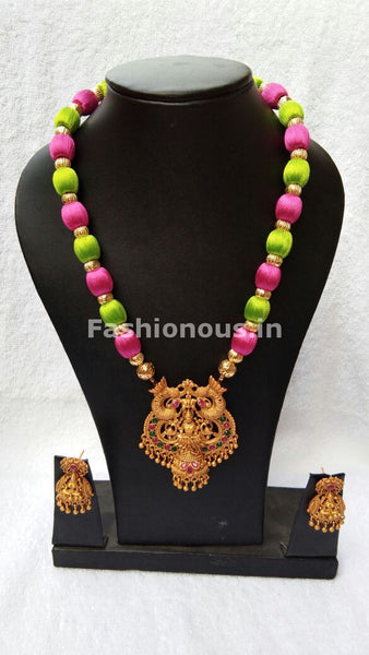 Pink and Green Balls  with Lakhsmi Pendant Silk Thread Jewellery Set-STJS-019