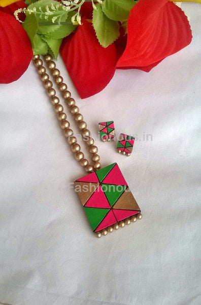 Pink and Green Rectangular Terracotta Pendant Set-TJS-046