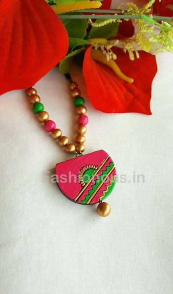 Pink and Green Semi Circled Terracotta Necklace-TJS-033
