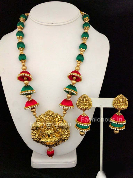 Pink and Green Silk Balls and Jhumka with Laxshmi Antique Pendant Silk Thread Jewellery Set-STJS-043
