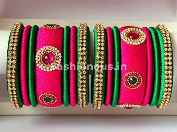 Pink and Green Silk Thread Bangle Set-STBS-014